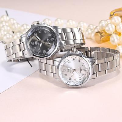 Fashion Women Stainless Steel Love Analog Quartz Round Wrist Watch