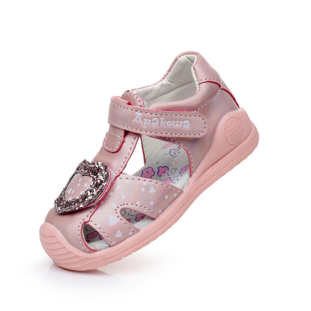 Kids Girls Closed Toe Sandals Child Baby Cute LED Light Beach Shoes Soft Flats