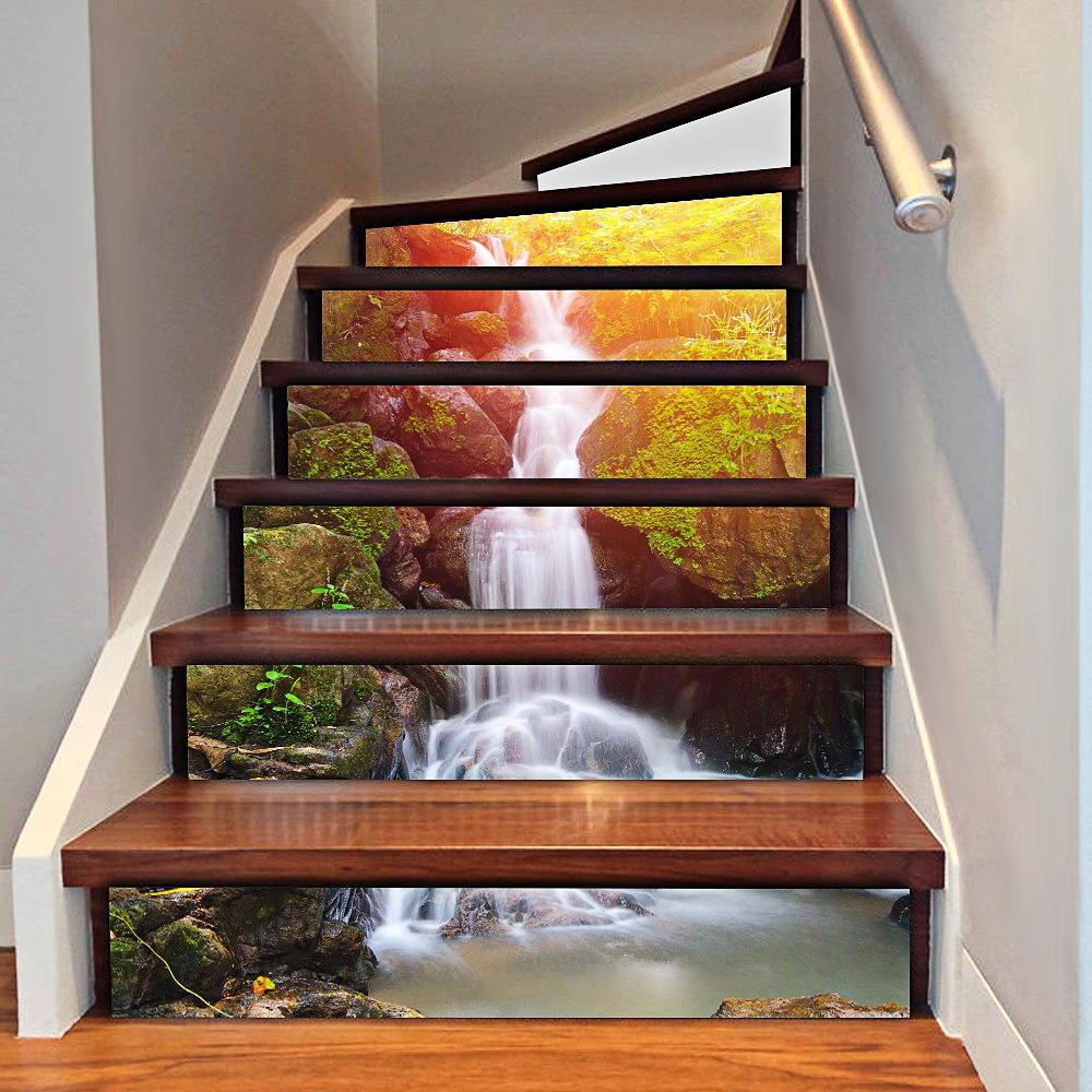 3d wasserfall treppe aufkleber home decor zu den. Black Bedroom Furniture Sets. Home Design Ideas