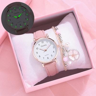 New Women's Watch + Bracelet Simple Retro Small Watch Leather Strap Casual Sports Watch Formal Watch