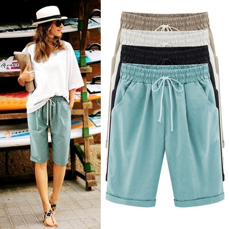 ZANZEA Women Shorts Cotton Beach Holiday Thigh Length Pockets Shorts Plus Size