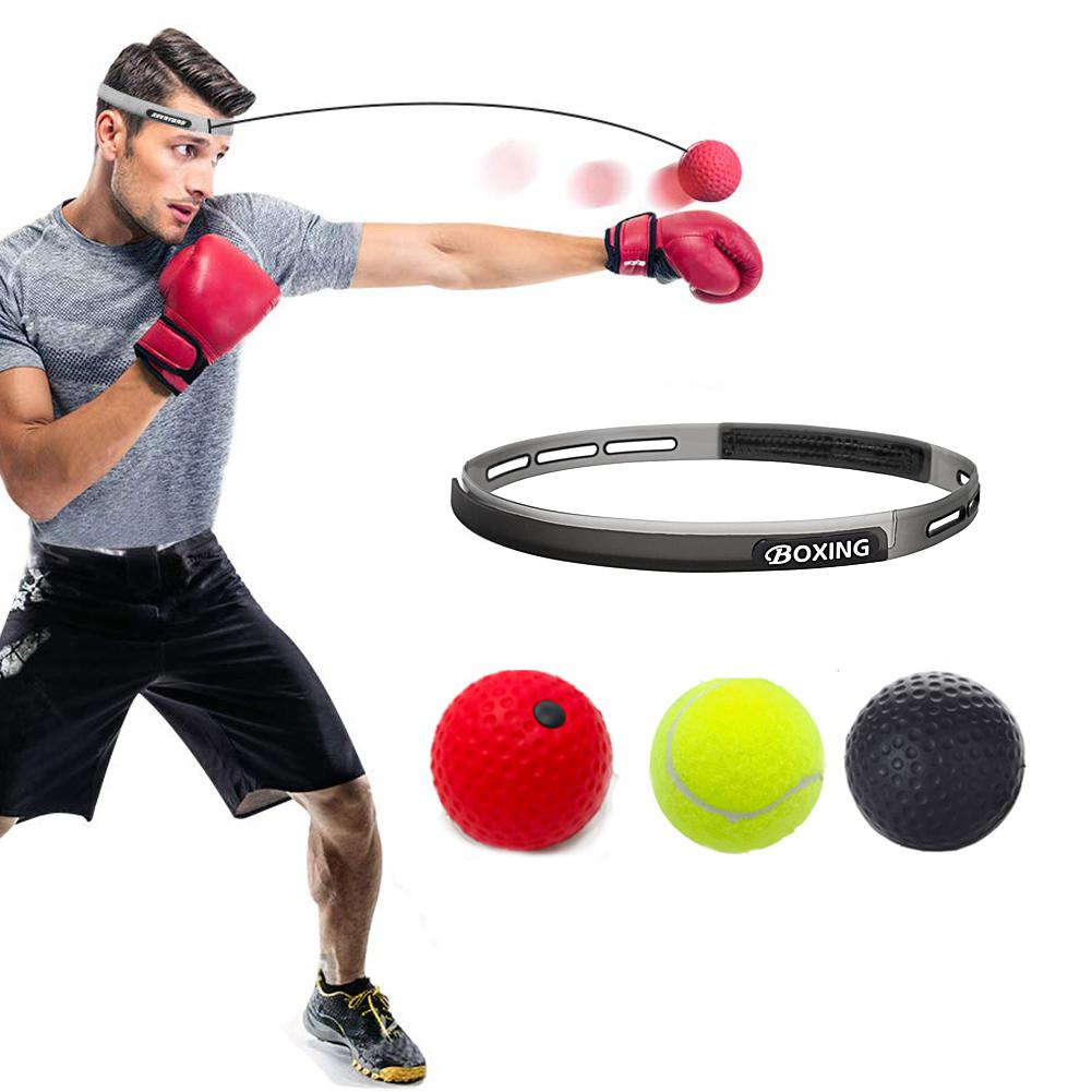 Boxing Head Band Speedball Fight 4 Ball Reflex Speed Punch Training Exercise