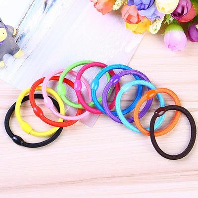 5Pcs Kids Girls Flower Head Rope Hair Ties Candy Band Ponytail Holder Elastic