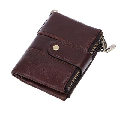 Brown Men Slim Wallet RFID Front Pocket Coin Purse Clutch Hasp Retro Short Bifol Wallets