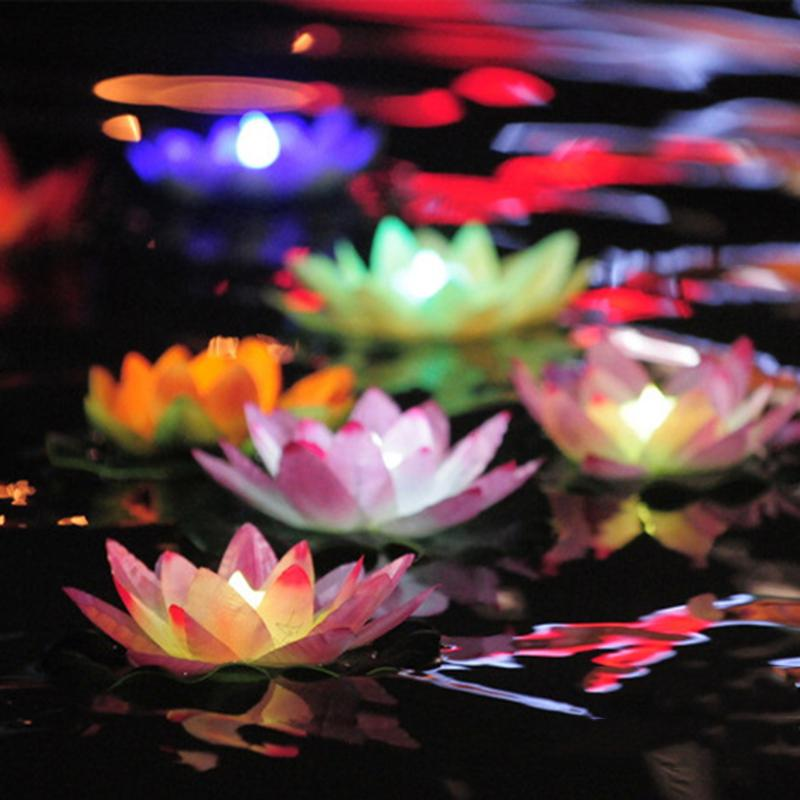 Powered LED Lotus-Flower Light Floating LED Lotus Light Wishing Lamp Hot
