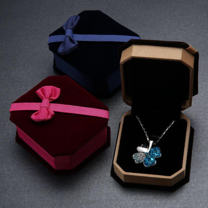 Jewelry Gift Box Necklace Ring Earring Round Case Bowknot Storage Box Organizer