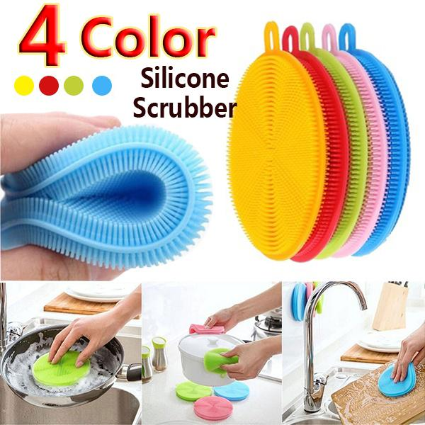 Silicone Dish Washing Brush Pot Pan Bowl Scrubber Home Kitchen Cleaning Tools