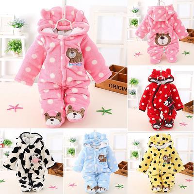 974c4f8fec8 0-1Y Newborn Baby Flannel Romper Cartoon Animal Warm Thick Hooded Jumpsuit