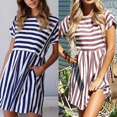 1e437fa7900 Женщины мини-полосатые платья лето Весна короткие O шеи женщин элегантный  пляжный мини платье Vestidos