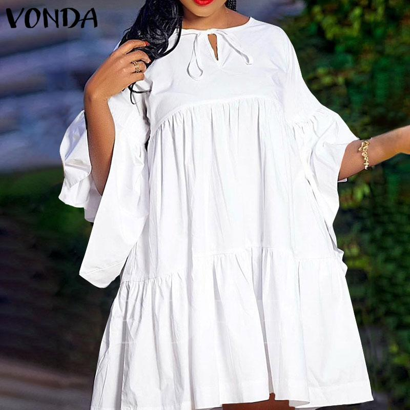 ZANZEA Womens Cotton 3//4 Sleeve Plain Casual Mini Dress Loose Holiday Long Dress