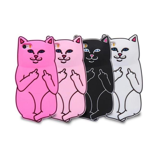 Карманный Кот силиконовая анти аварии телефона чехол средний палец Cat телефон случае – купить по низким ценам в интернет-магазине Joom