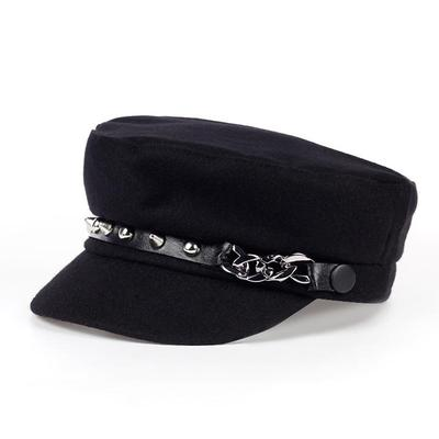 Fastion Unisex Cotton Wool Newsboy Hat Women Outdoor Warm Beret Hats Men Winter Navy Hat Rivet Caps