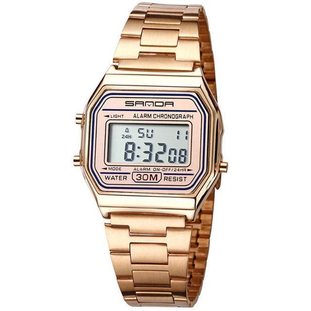 c62ed81d751 SANDA aço inoxidável relógio à prova d água Digital data semana relógios de  pulso de quartzo movimento senhoras-comprar a preços baixos na loja virtual  Joom