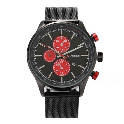 Cuarzo impermeable fecha Casual analógico reloj de pulsera 8227 hombres  (negro rojo) 160be17cfe6b