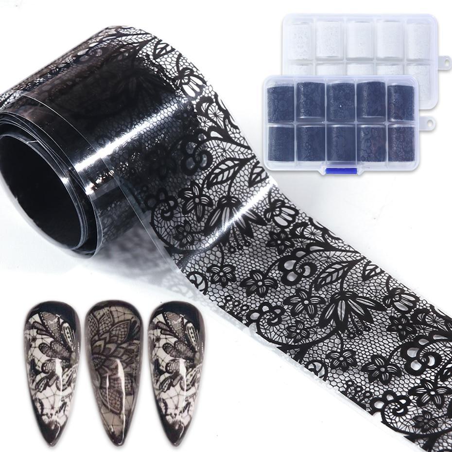 10pcs Кружева ногти Фольга наклейки Установить черный белый трансфер Decal Manicure ногтей Клей Слайдер Декор