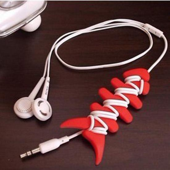 Holder Cord Wrap Headphone Earphone Organizer Rubber Cable Winder Bone Shaped