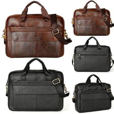 Cuero mensajero bolsas negocios trabajo maletín portátil bolso 1 pc hombres 03021b26311a