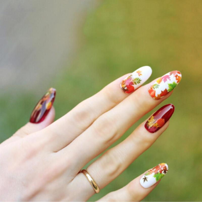 Arce hojas agua transferencia de manicura de uñas de arte pegatinas ...