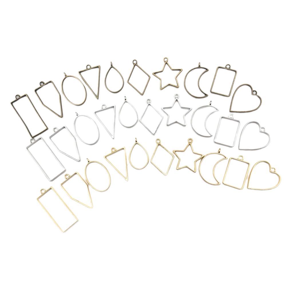 30PCS Bezel Charms Pendants Open Back Bezel Pendants Hollow Mold Pendants