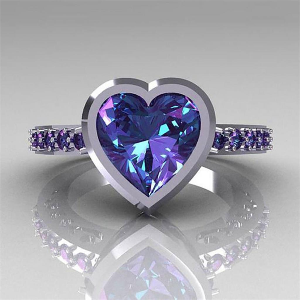 Fashion Round Cut  2.35ct Black Sapphire 925 Silver Wedding Ring Size 6-10