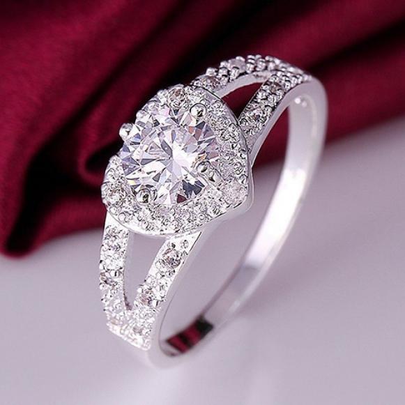 时尚心形戒指 速卖通Ebay外贸热卖 女戒 欧美锆石指环