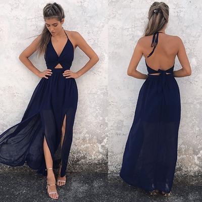 9589c9f0a9f91ce Женщины БОХО цветочные печати пляж платье платье без рукавов макси платье  вентилятора