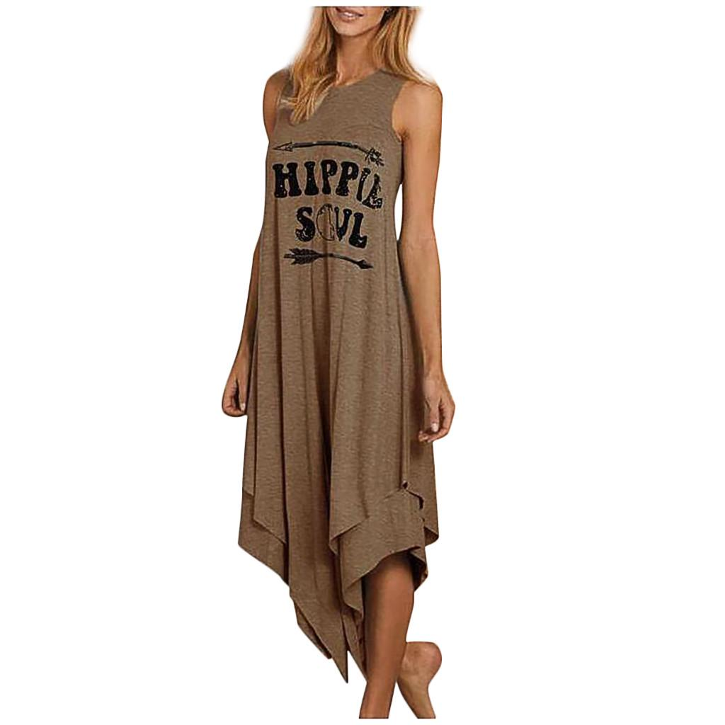 Womens A-Line Mini Skirt Summer O-Neck Sleeveless Beach Dress Vintage Printed Short Shift Dresses L, D