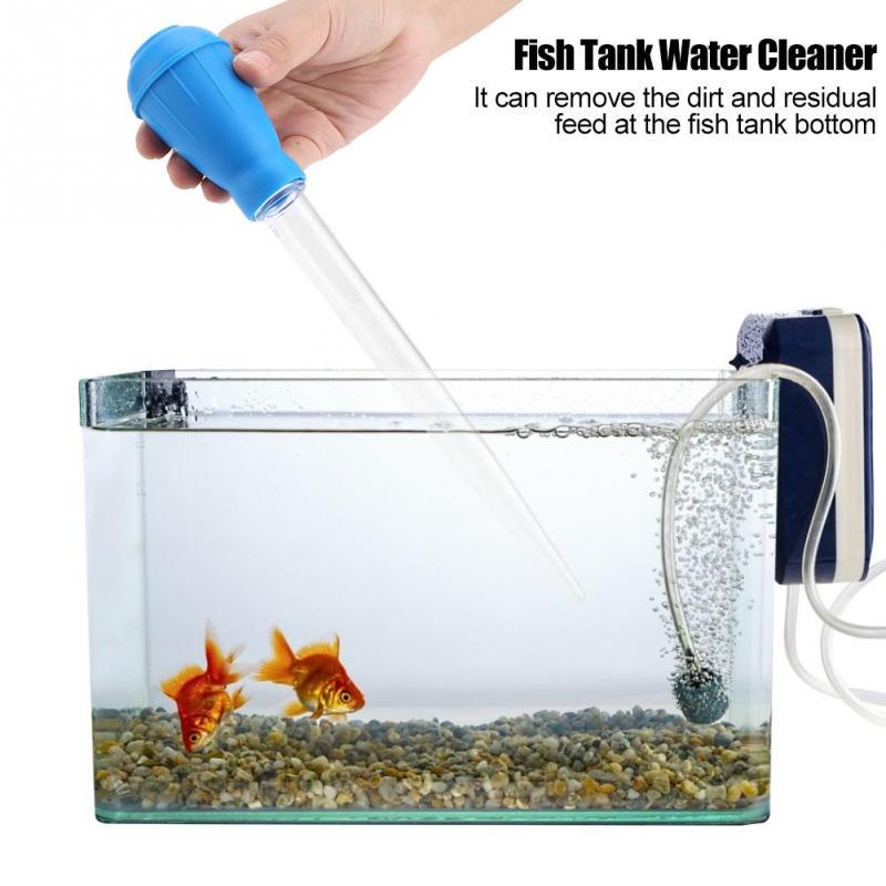 Home Holic Silicone and Plastic Droppers Pipettes Aquarium Multi-Function Mini Water Changer Blue Fish Tank Stool Pump Cleaner Changer Manual Squeeze Water Changer Cleaning Tool for Small Fish Tank