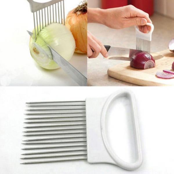 Vegetable Cutter Kitchen Gadget Stainless Steel Easy Onion Holder Slicer Tools