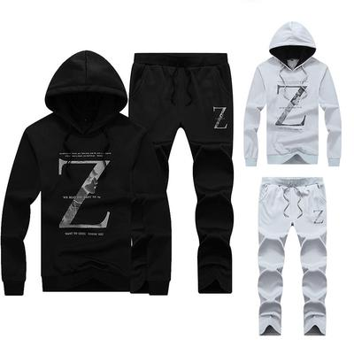 b06971e6cb9 Men s Spring and Autumn Fashion Casual tracksuit Sports Lettering printing  Hooded Sweatshirt Set