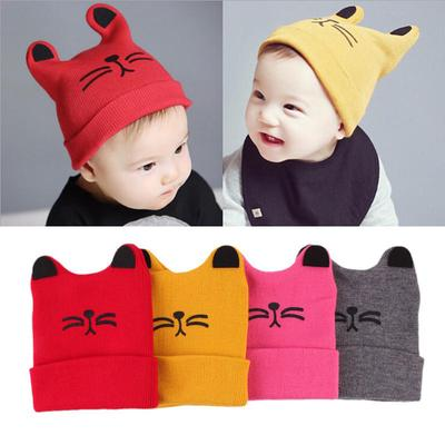 Amiley Baby Children Ball Cap Letter Warm Winter Hats Pom Pom Knitted Wool