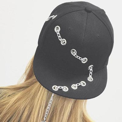 free shipping 68409 e5b3b Metal Ring Iron Tassel Baseball Caps Adjustable Casual Punk Hats Rock Style  Chain Hip Hop Cap