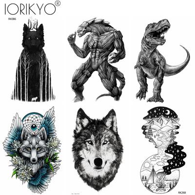 cd7523365 3 Pieces Same Style Monster Temporary Tattoo Sticker Black Wolf Men DIY Waterproof  Tattoo Body Arm