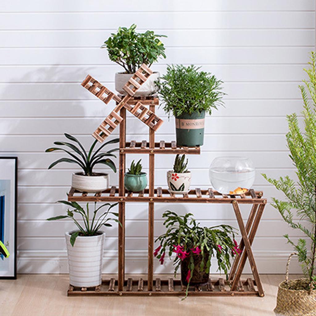 4X Balcony Flower Rack Hanging Iron Rack Flower Pot Shelf Plant Stand Planter