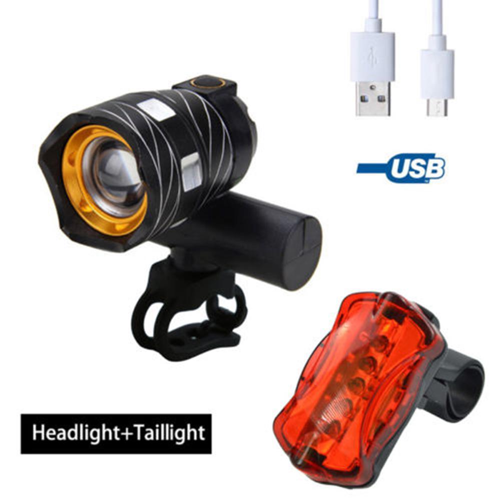 Cycling Bike Bicycle Headlight 15000LM XML T6 LED Zoom USB Front Light Rear Lamp