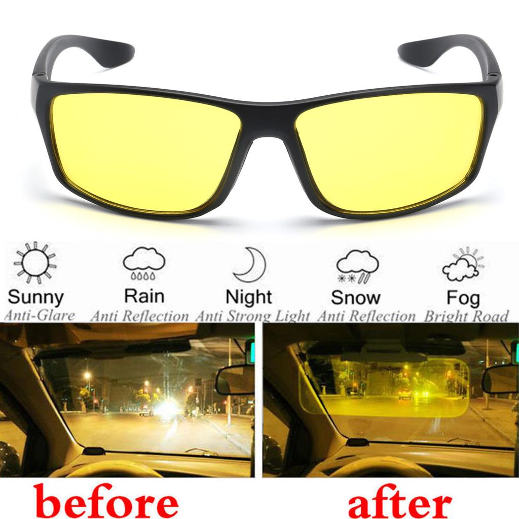 Night Driving Glasses Anti Glare Vision Yellow Lens Driver Safety Wear Goggle