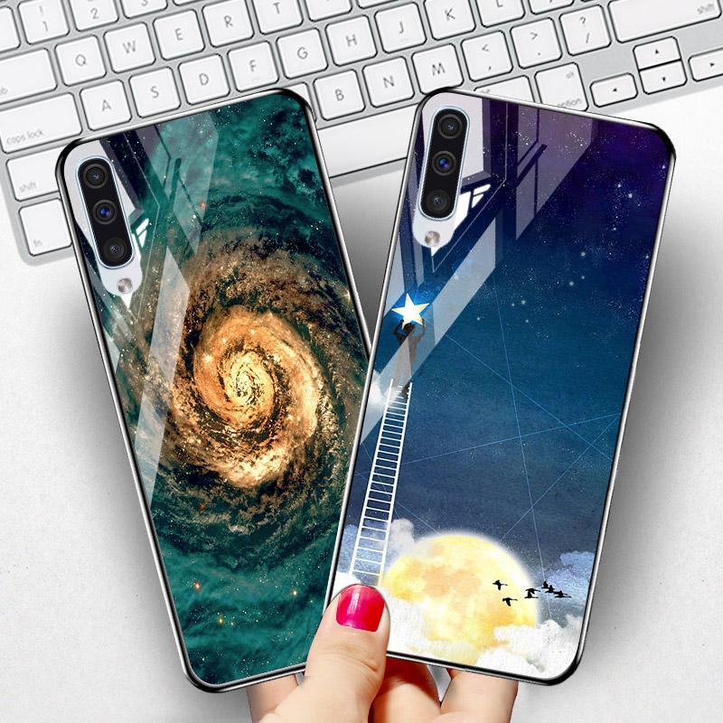 Закаленное стекло телефон чехол для Samsung Galaxy A50 A 50 2019 A505F A505 SM-A505F Обложка расписная сумка