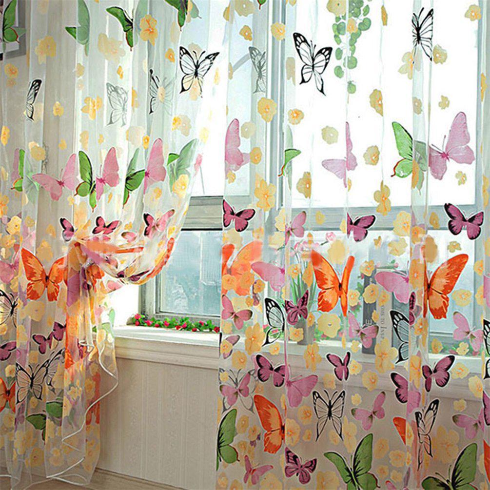 LESHP романтический бабочка прозрачные шторы тюль 1х2м для створки и дверь HS – купить по низким ценам в интернет-магазине Joom