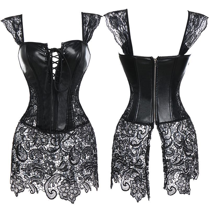 Leather corset womens corest foundation garment leather corselet