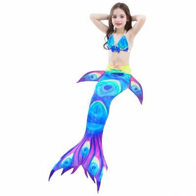 Kids Girls Mermaid Tail 3pcs Bikini Set Swimmable Swimwear Swim Cosplay Costumes