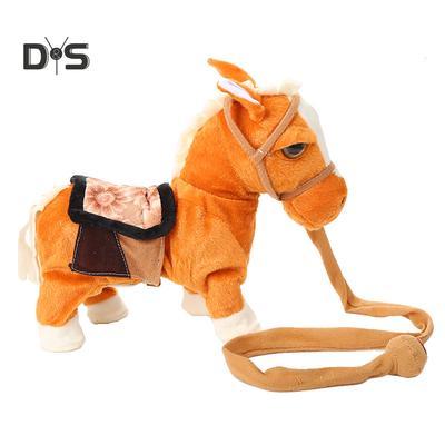 BROWN 1PC NEW WALKING PONY HORSE W// SOUND LEASH TOYSTUFF PLUSH BATTERY KIDS FUN