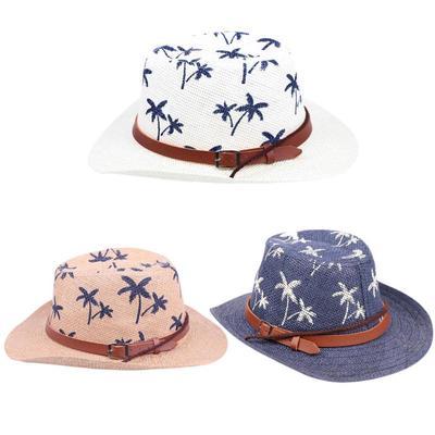 cc59a303d4d Unisex Kids Cowboy Boys Sun Hat Girls Travel Beach Straw Flanged Cap Visor