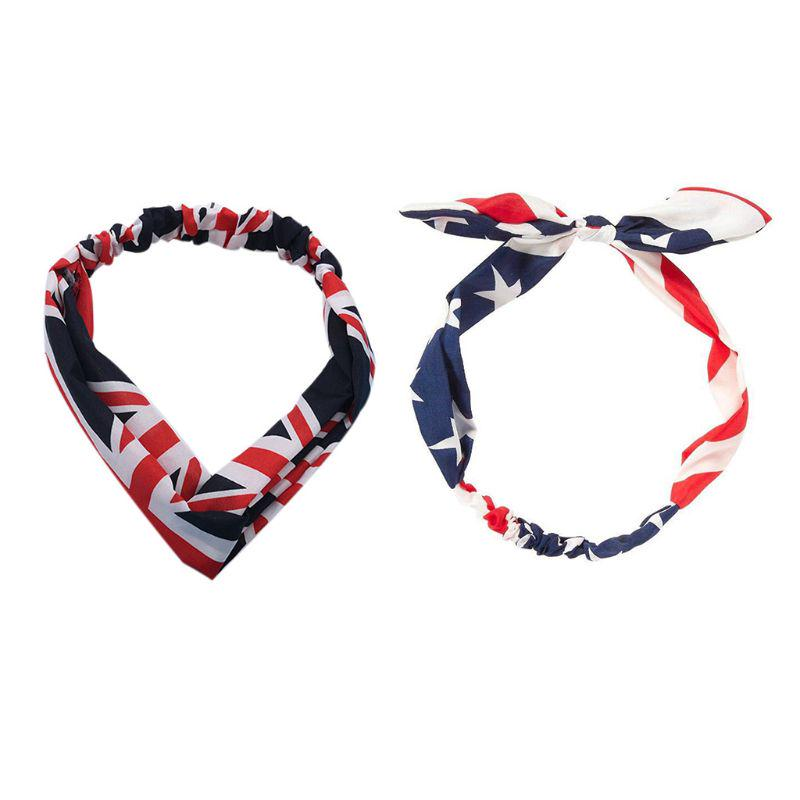 American Flag Rabbit Ears 4th of July Turban Knot Headband Hair Band Head Wrap