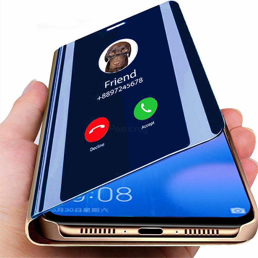 Роскошный вид Smart Flip Телефон Обложка для честь 9X 9X Pro Зеркало Дело для iPhone Huawei Samsung A50 A51 фото