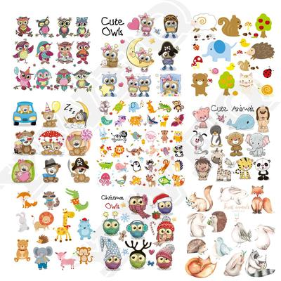 DIY Heat Transfer Cute Animals Set Iron-on Patches For Clothing Children T-shirt Decoration Applique