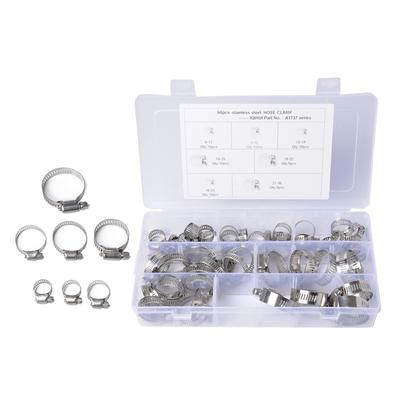 58x 6-38mm Stainless Steel Worm-Gear Hose Clamp Assortment Kit For Auto Car Home