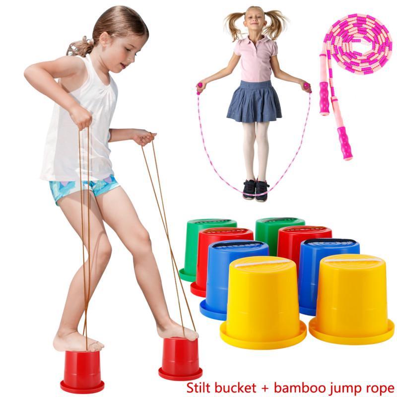 storage bag Kids Stilts Toys Balance Walking Outdoor Games Walking Jumping Stilts Sensory Balance Training Bucket Stilts 2 Pcs