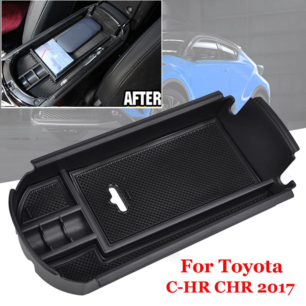 for Toyota C-HR CHR 2016 2017 2018 2019 Center Console Accessory Organizer Armrest Box Insert Tray with White Mat