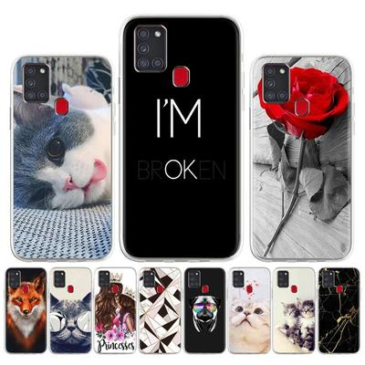 Soft Case for Samsung A21S Case Silicone for Samsung Galaxy A21s SM-A217F SM-A217F/DS Cover Cute Cat Animal Flowers Patterned Phone Bumper