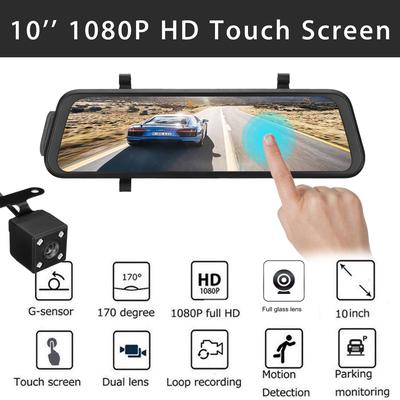 Phisung 12 Car Mirror Dash Cam Front and Rear Backup View Dual Lens Recorder Camera DVR 170/° Wide Angle with Night Vision 1080P Full Touch Screen Reverse Assistance 24 Hours Parking Monitor